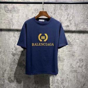 Balenciaga Gold Logo Tee Navy Blue
